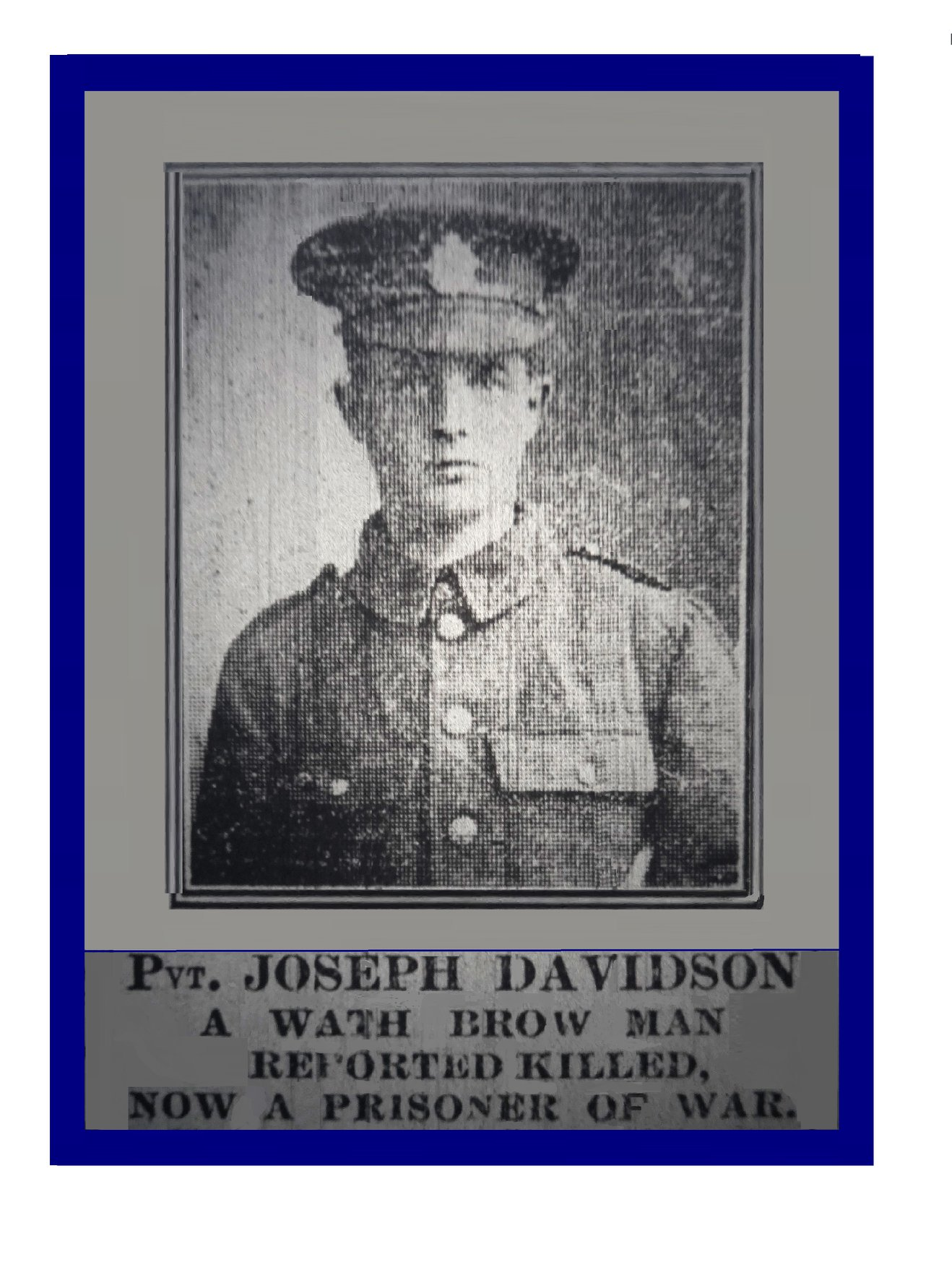 """A Wath Brow soldier who """"came back from the dead"""" Private Joseph Davidson"""